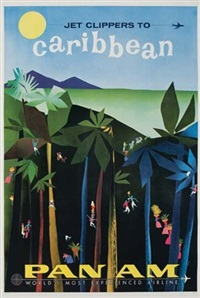 jet clippers to caribbean/pan am (by fine) by posters: aviation