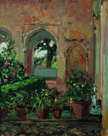 patio aux fleurs by paul emile lecomte