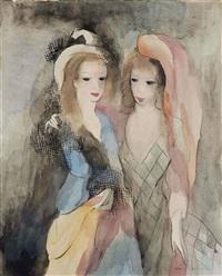 jeunes femmes à la mantille et au voile rose by marie laurencin