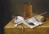 a toebackje still life with a pipe, two oysters, a glass of beer, tobacco, sulphur sticks and burning taper, all on a wooden ledge by theodorus (dirk) smits