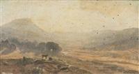 berger avec son troupeau au soleil couchant by françois lauret