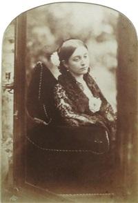 portrait d'un jeune femme assise se reflétant dans un miroir by oscar gustave rejlander