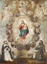 virgin and child encircled by scenes from the life of christ with kneeling saints by spanish school (18)