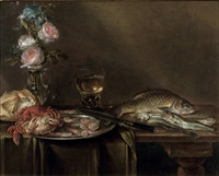 roses and an iris in a glass vase, crabs and prawns on a pewter platter, a bread roll, a roemer and fish, all on a partly draped table by alexander adriaenssen