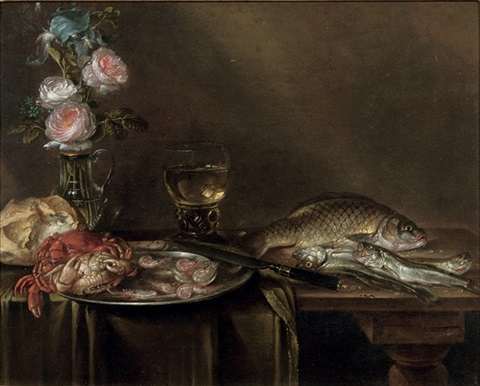 roses and an iris in a glass vase crabs and prawns on a pewter platter a bread roll a roemer and fish all on a partly draped table by alexander adriaenssen