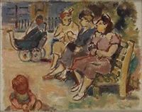 mothers and children in park by bernard gussow