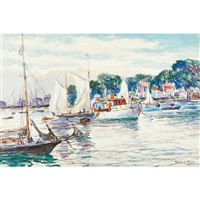 boats at anchor, rockport by reynolds beal