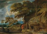 landschaft mit einem hirten und seiner herde an der tränke by frans wouters