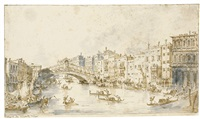 view of the grand canal with the rialto bridge and the riva del vin by francesco guardi