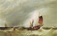 Fishing boat and other vessels off the..., 1857–1857