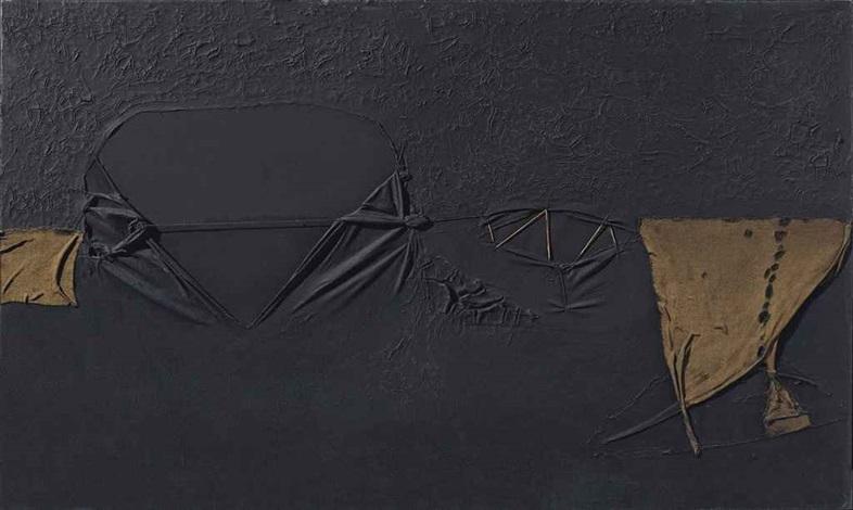 nero con punti rossi (black with red dots) by alberto burri