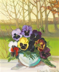 still life with pansies by lydia dmitrievsky