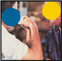 two opponents (blue and yellow) by john baldessari