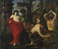 bacchus overseeing the crushing of grapes by his satyrs by pier francesco mola