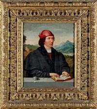 homme tenant un livre d'heure ouvert devant un paysage by flemish school (19)