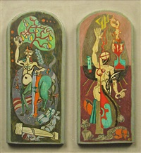 mythological characters (diptych) by aurel acasandrei