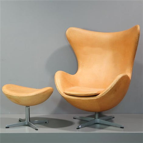 Lounge Sessel Egg Chair Modell 3316 Und Ottomane 3127 By Arne