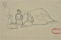 trois bretonnes près d'un rocher by henry moret