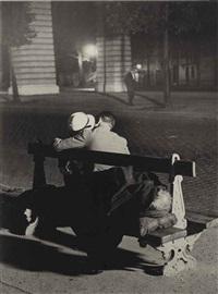 couple d'amoureux sur un banc et un clochard, boulevard st. jacques, c. 1932 by brassaï