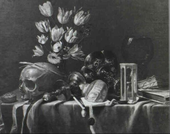 Nature morte au crane et bouquet de tulipes by Jan Davidsz de Heem ...