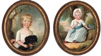 portrait of a young girl in a white dress with a dog (+ portrait of a young boy in a white dress with blue sash; pair) by francis alleyne
