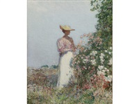 lady in a garden by childe hassam