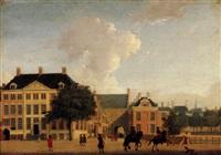 the hague, a view of the vijverberg towards the gevangenpoort by jan ten compe