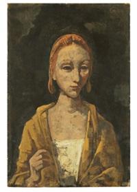 brustbild einer frau mit erhobener hand by karl hofer
