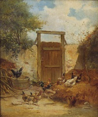 barnyard scene with chickens in front of stone walls flanking a large door by g. angelvy