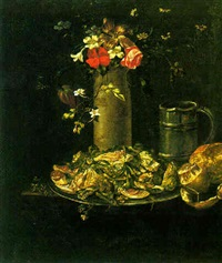 still life of pewter tankard, bread, a peeled lemon, plate of figs and vegetables, and a stoneware vase of flowers all on a table by simon luttichuys
