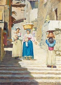 an italian town scenery with women and children by cilius (johannes konrad) andersen