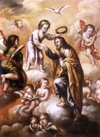 jesús coronando a san josé by lucas de valdes