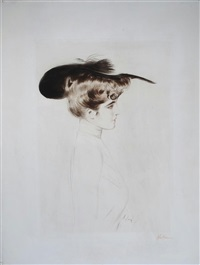 an elegant lady in a hat, in profile by paul césar helleu