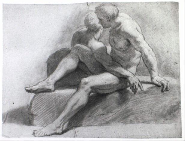 Un Homme Nu Un Autre Modele Assis Derriere Lui Tourne Vers La Droite By Henri Antoine De Favanne On Artnet