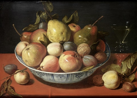 apples pears plums and other fruit with walnuts in a wan li kraak ware bowl on a draped table top with a glass of wine by david ryckaert iii