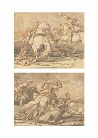 two scenes of cavalry skirmishes (pair) by georg philipp rugendas the elder