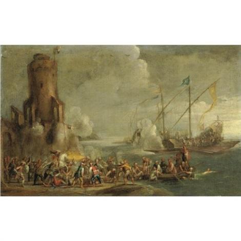 battagla con attacco navale by cornelis de wael