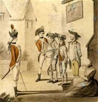 the unfortunates outside the old fortune tavern being press ganged by two young officers by henry william bunbury