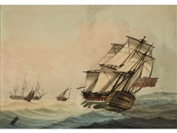 a frigate of the royal navy heeling in a breeze by samuel atkins