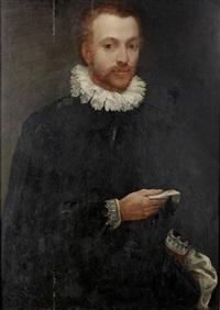 portrait of a gentleman, three-quarter-length, in a black coat holding a letter by alessandro di cristofano allori