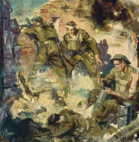 soldiers re loading by terence cuneo