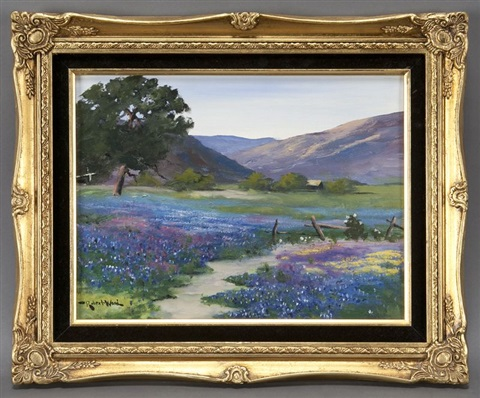 country road with texas bluebonnets by robert william wood