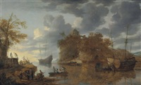 a coastal scene with shipping in a calm with figures in a rowing boat and conversing on a shore by bonaventura peeters the elder