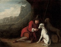 a wooded landscape with a traveler at rest with his dogs by ludolf de jongh