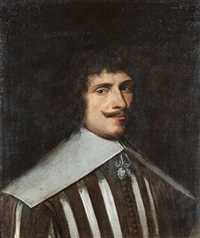 portrait of a gentleman, bust-length, in a brown doublet slashed to reveal white, with a white collar by louis (luigi primo) cousin