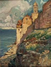 kloster und ruinen der villa neros in subiaco by eduard ameseder