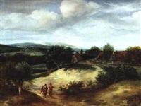 weite landschaft mit jägern by jacob koninck the elder