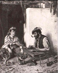 the zither player and a maiden by f. morelli