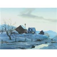 farm at dusk by john pike