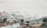 le mont-blanc depuis le pont saint-martin by jean-françois albanis de beaumont